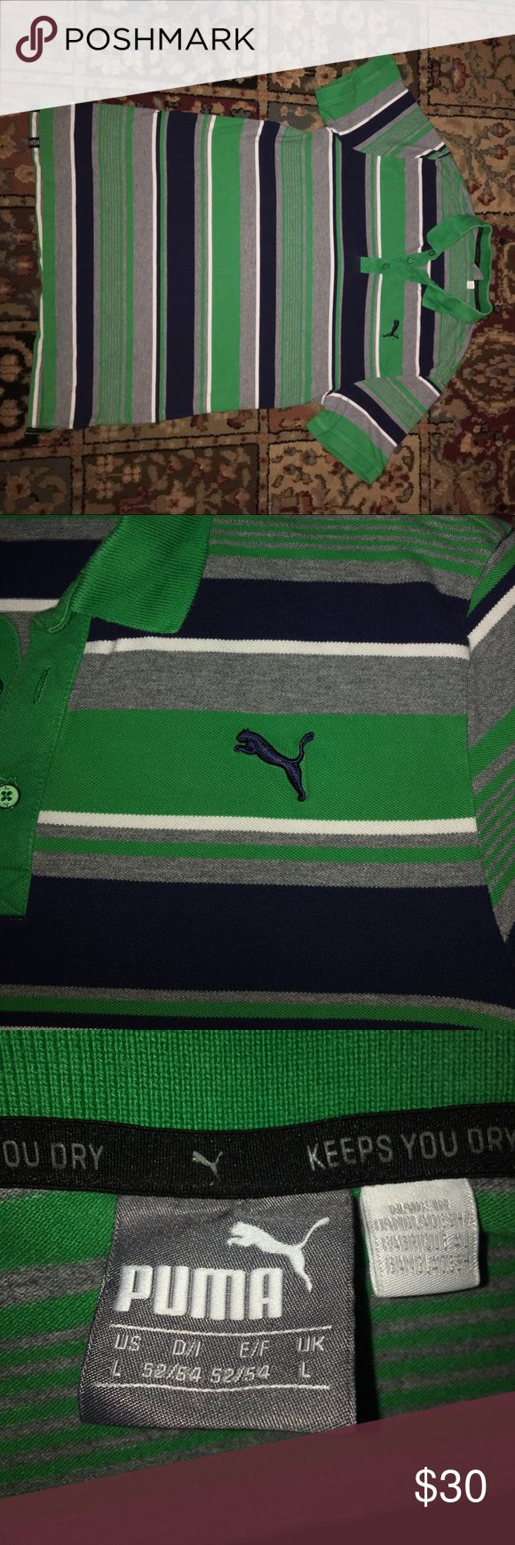 PUMA t-shirt Takin care of, gently worn puma shirt. Great condition :) ( Green , dark blue , white, and grey ) Puma Shirts Tees - Short Sleeve