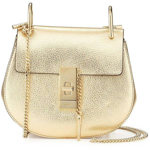 Chloe Drew Mini Goatskin Chain Shoulder Bag ($1,850) ❤ liked on Polyvore featuring bags, handbags, shoulder bags, bolsas, pale gold, quilted chain strap shoulder bag, mini shoulder bag, metallic handbags and metallic purse