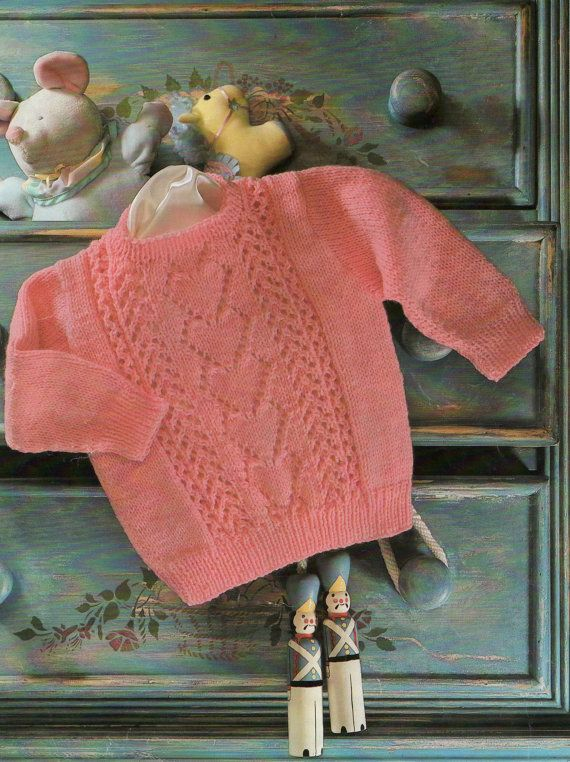 Vintage Baby Knitting Pattern Sweetheart Sweater Baby