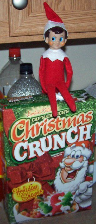 my kids would have loved the elf on the shelf when they were little.: Cereal Elf, Brings Christmas, Shelf Idea, Christmas Cereal, Christmas Elf, Box, Elf Brings, Elf On The Shelf