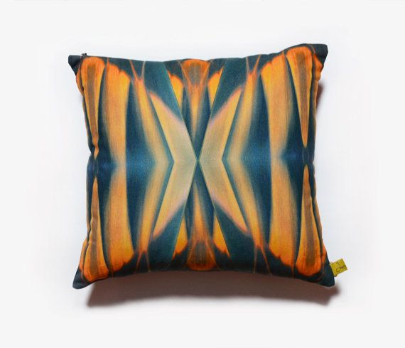 Abstract pleat digital print cushion cover Navy by LauraNadile, $67.00