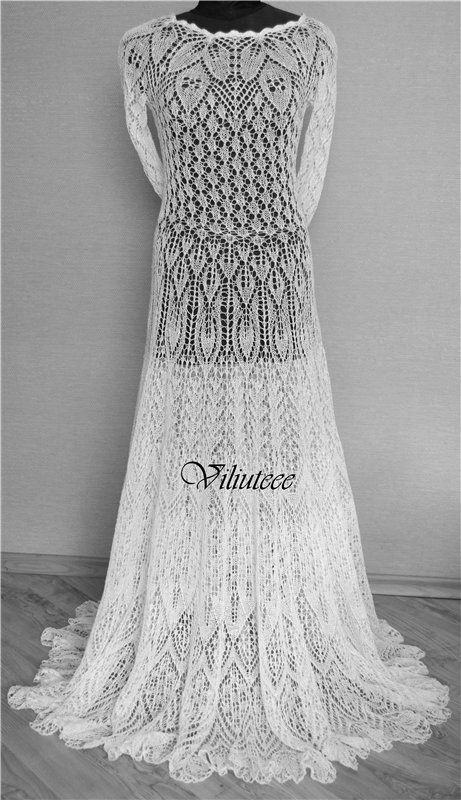 knit lace dress - white dress with leaves and feathers motifs wedding dress
