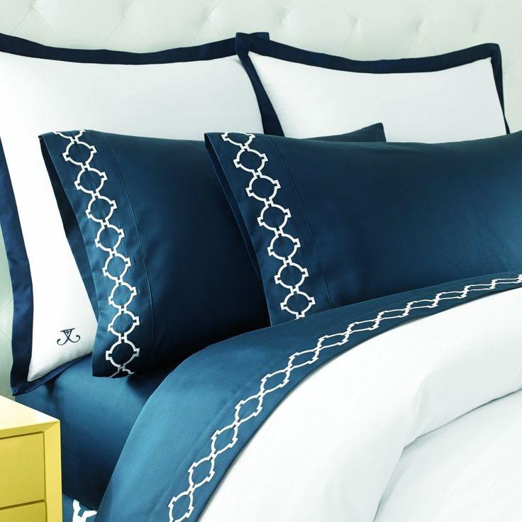 Jill Rosenwald Hampton Links Embroidered Sheet Set Bed