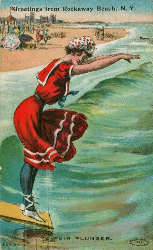 The traditional sailor-inspired bathing suit, but in red. A postcard from the late 19th century.
