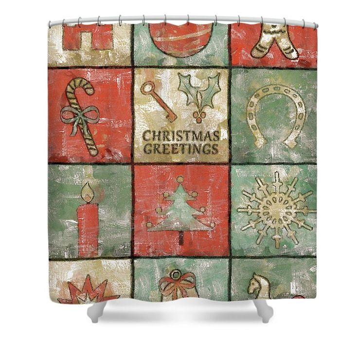 Christmas Shower Curtain featuring the painting Vintage Christmas Greetings by Grigorios Moraitis