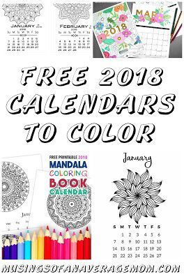 Free printable 2018 calendars to color