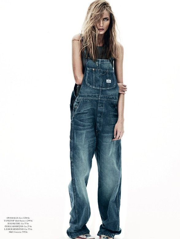 Snejana Onopka in denim overalls