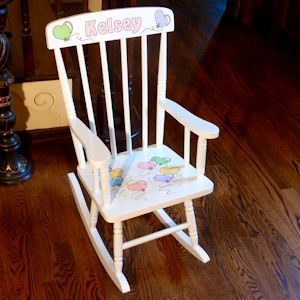 Child's White Wooden Rocking Chair is hand painted with heart balloons...but you can have it customized in your choice of designs and colors at Neat Stuff Gifts. $149.95