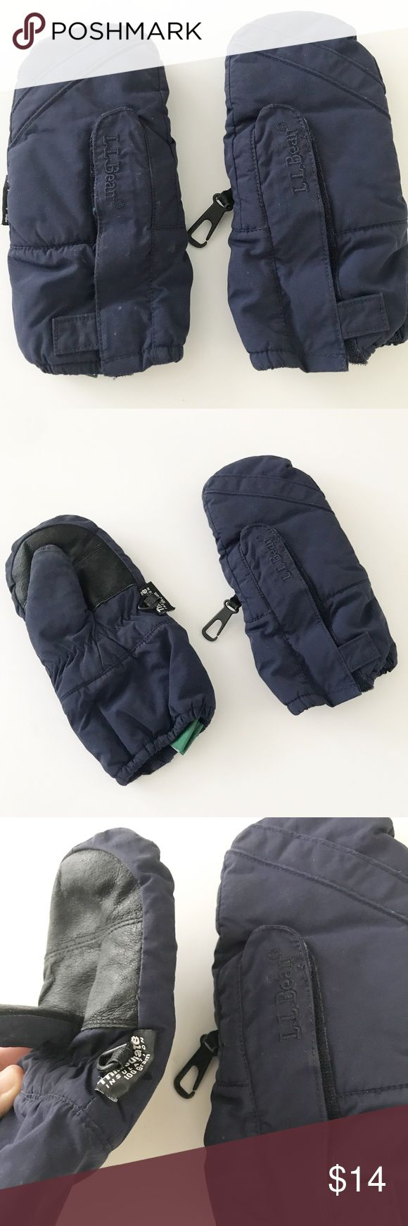 LL Bean navy blue mittens Very good condition. Has Velcro closure Accessories Mittens