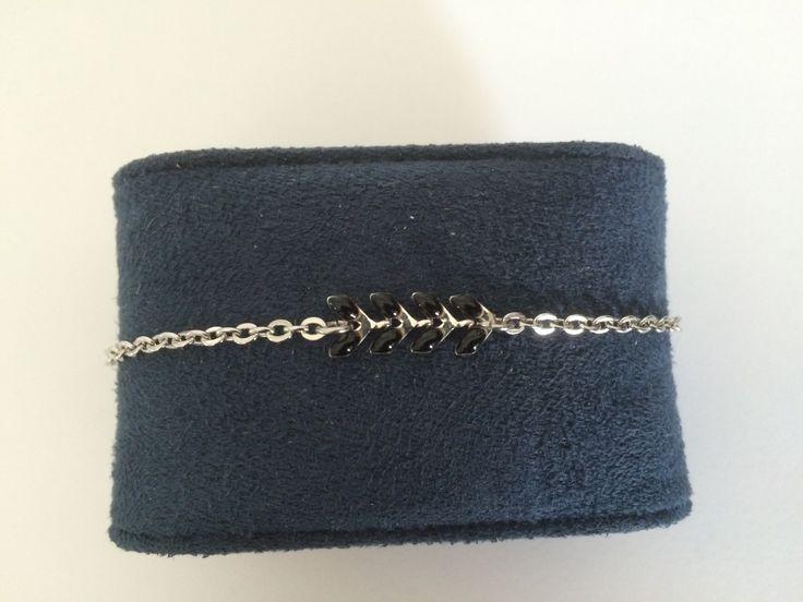 Bracelet femme acier inoxydable et epis email noir et argenté : Bracelet par chezchris