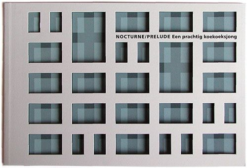 Boeken. Nocturne/Prelude, Een prachtig koekoeksjong. Boek met stans in omslag over de metamorfose van de flat De Valk door wooncorporatie Ons Huis in Apeldoorn. Grafisch Ontwerpers Arnhem