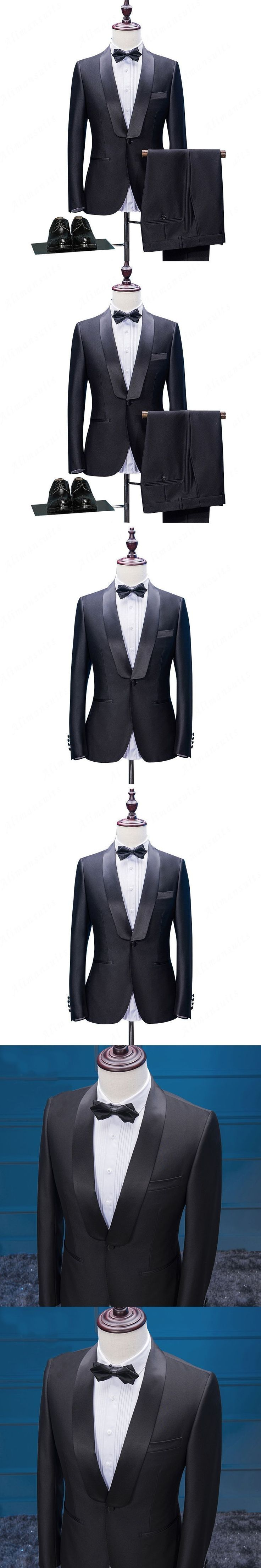 HB024 Modern Black Men Suits For Wedding Shawl Lapel Grooms Tuxedos Two Pieces Mens Suits Slim Fit Groomsmen Coat and Pants #menweddingsuits