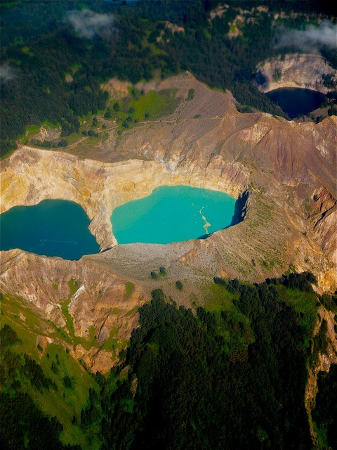 Tri-color crater lakes Kelimutu in Flores, Nusa Tenggara, Indonesia. Supposedly blue, green & brown.