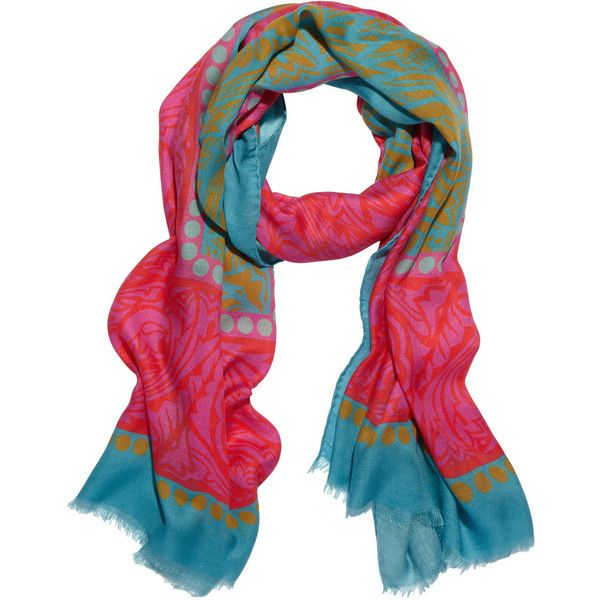 Jonathan Saunders Printed modal and cashmere-blend scarf ($203) ❤ liked on Polyvore