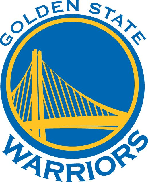Golden State Warriors Primary Logo (2011) - A span of the Bay Area Bridge in yellow on a blue circle with team name around it