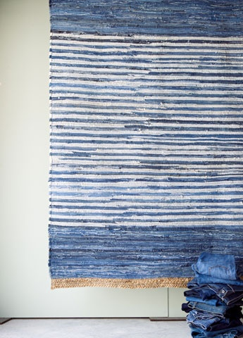Recycled denim rug Recycled Upcycled denim old jeans RECICLAR REUTILIZAR VIEJOS PANTALONES TEJANOS ALFOMBRA