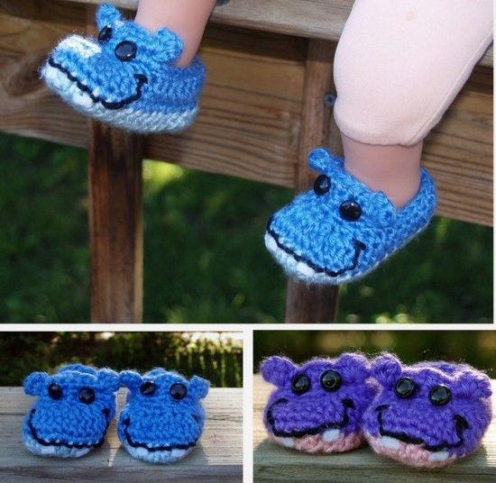 DIY Hippo Booties Free Crochet Pattern #diy, #crochet, #hippo, #bootie