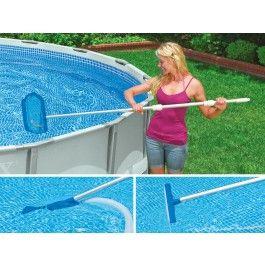 Intex Pool Reinigungsset Skimmer mit Saugerkopf 58959  Kurzübersicht Die Teleskopbauweise ermöglicht das stufenlose Zusammenziehen der Stange Mit hochwertiger Bürste Vakuum saugt Schmutz aus dem Pool und durch den Filter Der Kescher besteht aus einem langlebigen und tiefen Netz