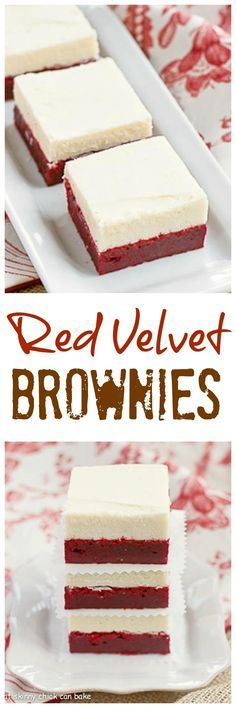 Red Velvet Brownies | Denser than the classic cake , these decadent brownies are topped with white chocolate buttercream! @lizzydo