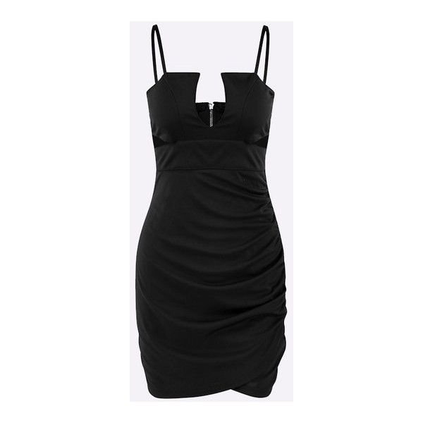 Yoins Black Sexy V-neck Backless Design Dress with Cut Out Design ($21) ❤ liked on Polyvore featuring dresses, cutout dresses, v neck cocktail dress, backless cocktail dress, sexy v neck dress and sexy going out dresses