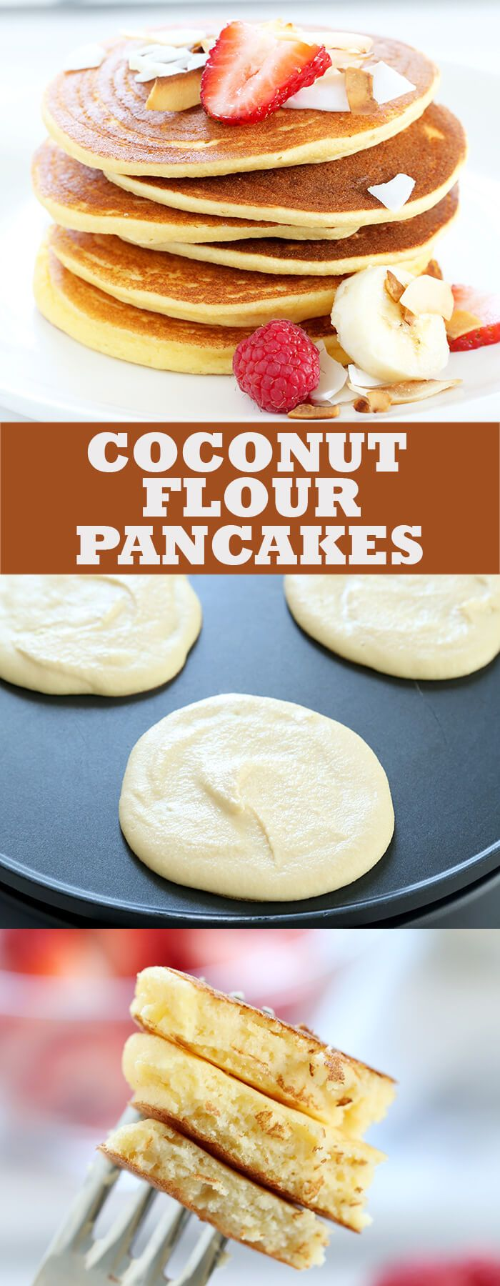Paleo coconut flour pancakes that are light and fluffy, and made with just a few basic ingredients. A quick and easy, low carb gluten free breakfast!