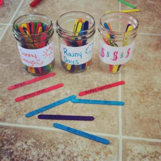 Simple summer plan for kids! Get the kids involved and fill three jars with popsicle sticks with ideas writen on them...1 jar with free sunny day ideas, 1 with free rainy day ideas then one with the ideas that cost $$$ (swimming, zoo etc..). We made a chore list to go along with this so every day after chores are complete the kids get to pick a stick:) Once a week they get one out of the $$ jar. Hope this idea helps some other mommas!!