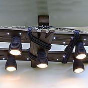 Для дома и интерьера ручной работы. Ярмарка Мастеров - ручная работа Деревянная люстра с светодиодными точками и плафонами из каната. Handmade.