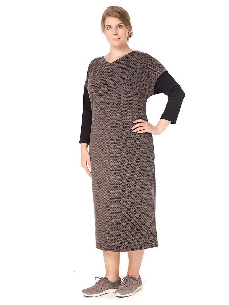 Настоящий осенний шик. Длинное, элегантное, струящееся платье прямого силуэта, сочетающее в себе две фактуры изысканного итальянского трикотажа. Дизайнерская находка, которая делает обладательницу этого платья по настоящему неповторимой. Длина до середины икры, есть карманы. Рекомендуется для всех случаев жизни, ведь с этим платьем невозможно расстаться.
