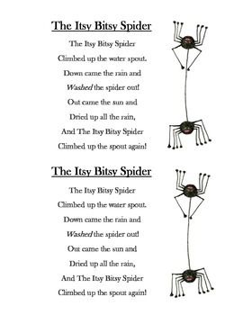 The Itsy Bitsy Spider Song Printable