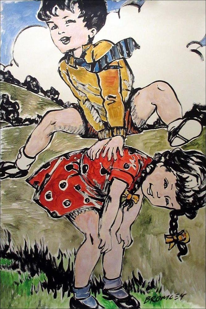 DAVID BROMLEY Children Series Leap Frog Boy Polymer Painting 120cm x 78cm