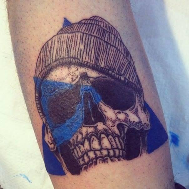 abstract art skull tattoo