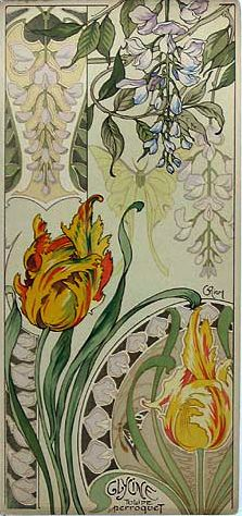 Riom Wysteria & Parrot Tulips from Etude de Fleurs, 1890s. ~via mpt.1607, Flickr
