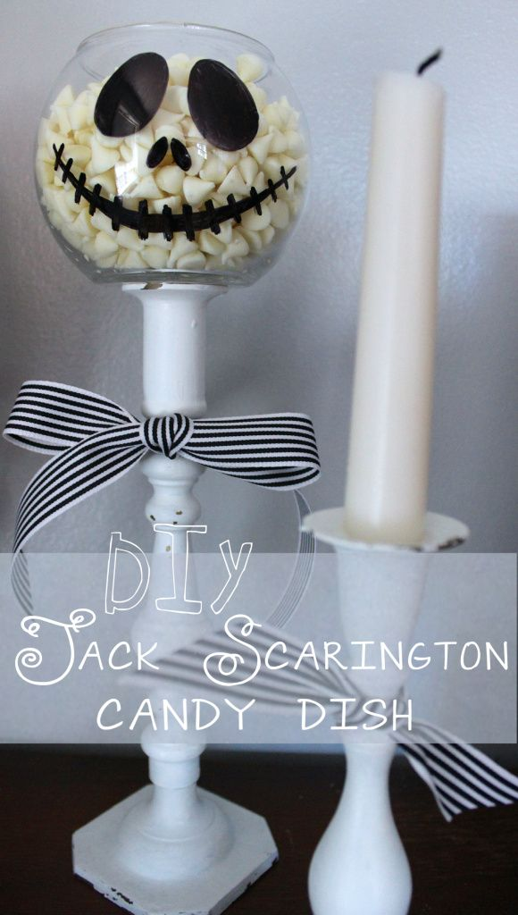 Nightmare Before Christmas inspired candy dish DIY. #JackScarington #Halloween