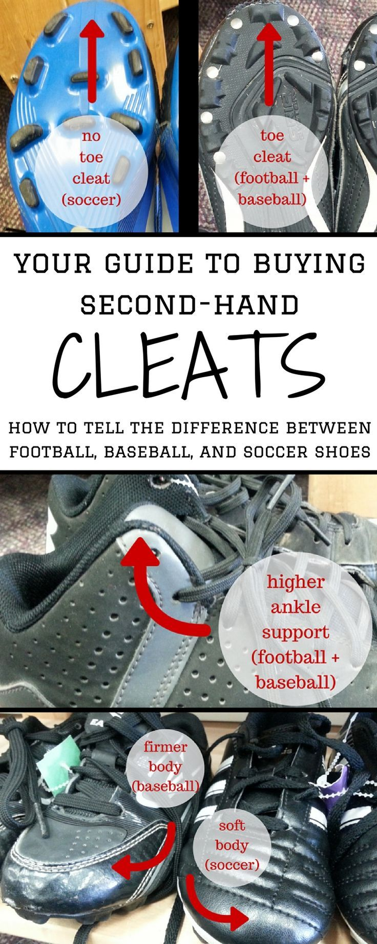 Save money and buy used cleats. How to tell the difference between football, baseball, and soccer shoes.: