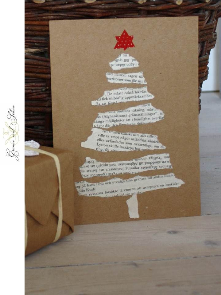 So so simple! Torn strips of text from a book or song sheet made into a Christmas tree shape. Red star from washi tape triangles. Fun project for the kids. DIY card