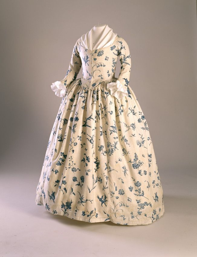 Dress: ca. 1760-1790, copperplate printed linen in a floral pattern. Shown with fichu and engageantes.  Worn by Deborah Sampson (Gannett), (1760-1827), possibly as her wedding dress.