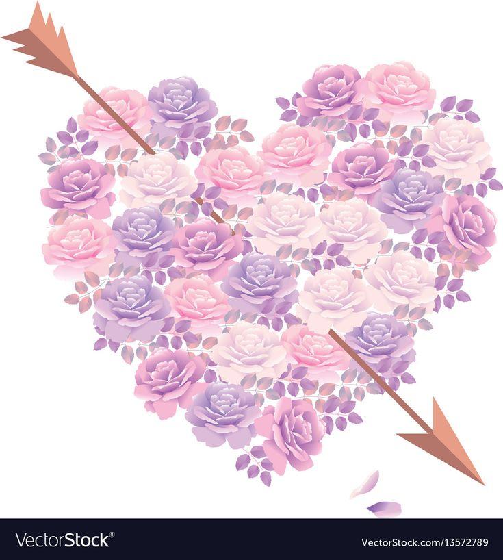 pink rose bouquet in heart shape