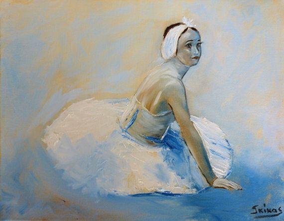 ballerina painting canvas art oil painting dance by GkArtStudio
