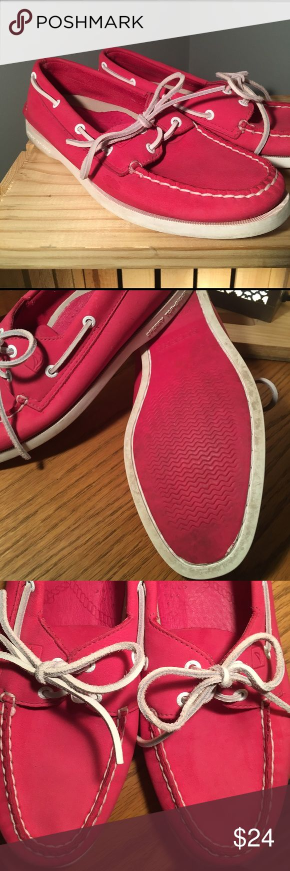 PINK SPERRY'S!!!!!!! Pink and White leather top-slider Sperrys!! These are sooo super cute! GUC, only wore a handful of times. Size 8.5m and true to size.  Smoke free and pet friendly home!! Sperry Top-Sider Shoes Flats & Loafers