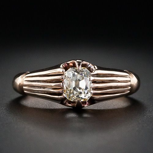 Victorian cushion cut diamond engagement ring set in rose gold - mid