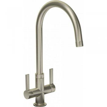 Abode Pico Brushed Steel Twin Lever Kitchen Sink Mixer Tap AT1227 - Abode from TAPS UK