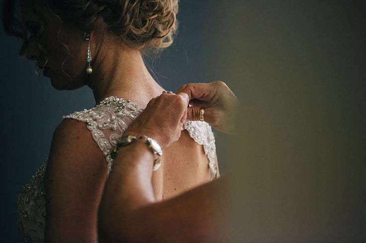Jewel-tone Wedding with Americana Influences - Maggie Bride Korrin wearing Jade by Maggie Sottero  —  Lace Back Detail Wedding Dress: Maggie Sottero - Jade  —  Bridal Earrings from BHLDN: Spire Earrings by Ben Amun in Pearl  —  Photography: Swatch Studios http://www.swatch-studios.com/
