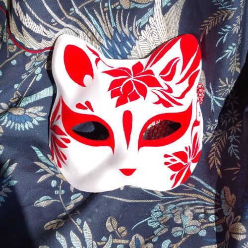 Hand-Painted Half Face Japanese Style Fox Mask Kitsune Cosplay Masquerade Party #Unbranded