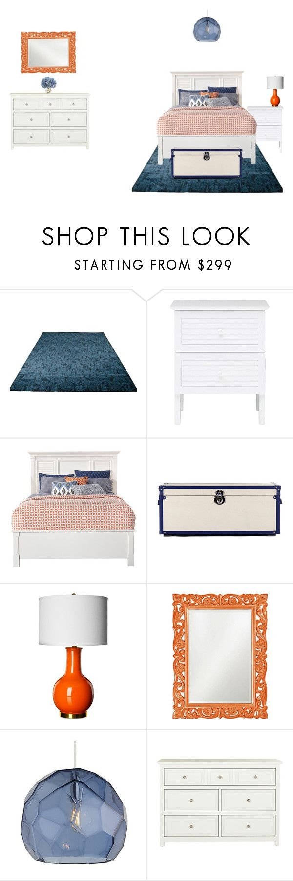 """""""Blue & Orange Bedroom"""" by bri-grim ❤ liked on Polyvore featuring interior, interiors, interior design, home, home decor, interior decorating, Safavieh, Howard Elliott, Tech Lighting and The French Bee"""