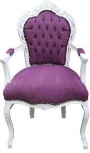 Casa Padrino Barock Esszimmer Stuhl mit Armlehnen Lila / Weiß Stühle Esszimmerstühle mit Armlehne