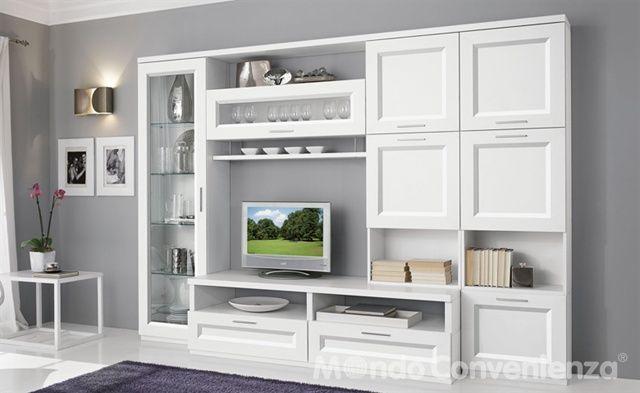Mobile soggiorno pamela colore bianco larice mondo Mobile soggiorno bianco