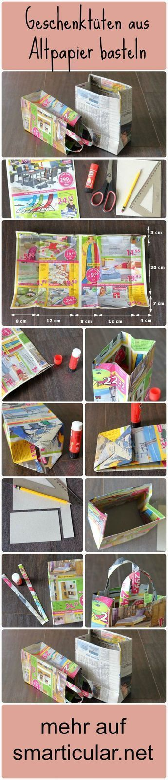 Tolle Bastelidee und noch nützlich - Geschenktüten aus Altpapier basteln - Sieht echt super aus★