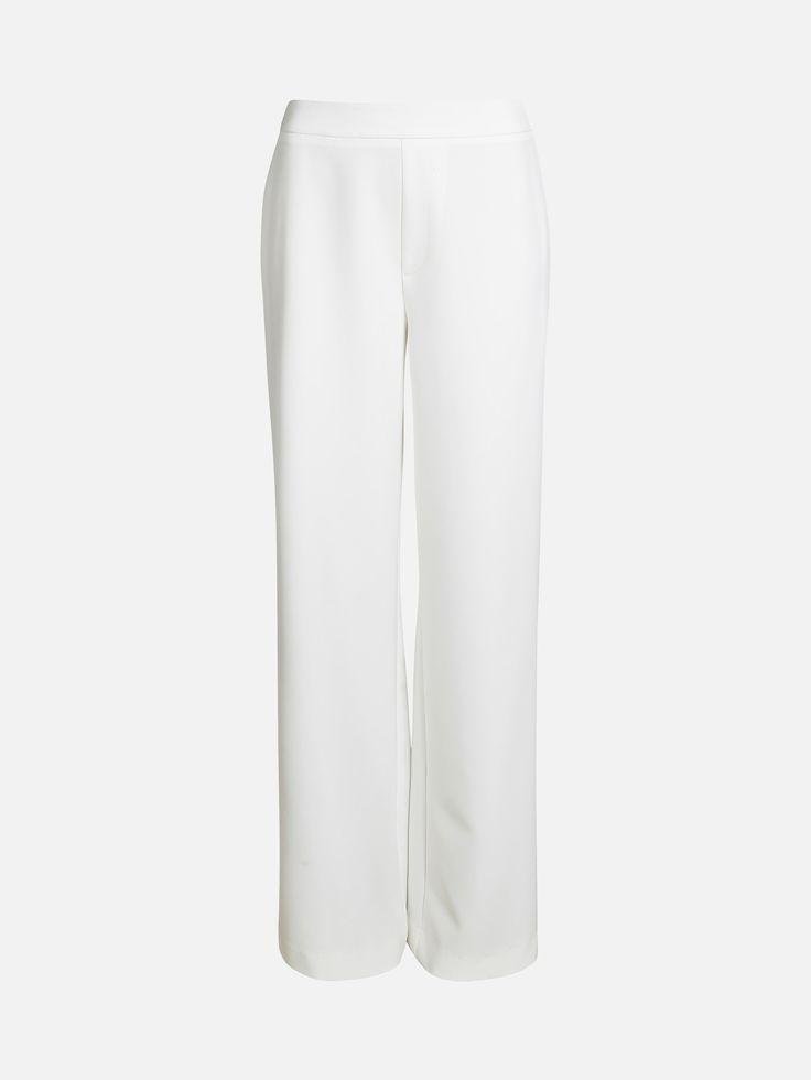 Bukser med høy midje og vide rette ben. Gliselåslukkning i siden. Style med sneakers, boots eller høye hæler.  Hvit