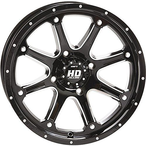 STI HD4 Gloss Black ATV Wheel 14x7 (4/110) - (5+2) [14HD400]. For product info go to:  https://www.caraccessoriesonlinemarket.com/sti-hd4-gloss-black-atv-wheel-14x7-4110-52-14hd400/
