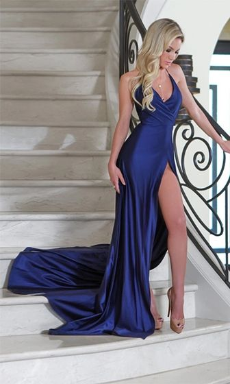 All Eyes On Me Blue Spaghetti Strap Cross Wrap V Neck Silky High Slit Maxi Dress - Inspired by Shanda Rogers